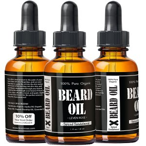 Leven Rose Spiced Sandalwood Beard Oil - front and back