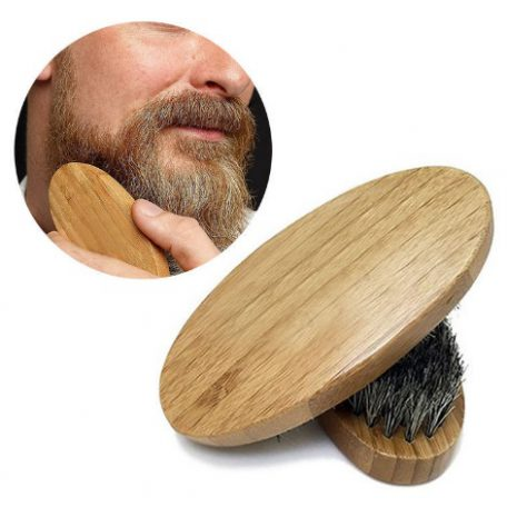 Men's Natural Boar Bristle Beard Moustache Brush With Round Wood Handle