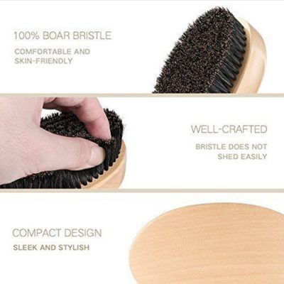 Men's Natural Boar Bristle Beard & Moustache Brush With Round Wood Handle