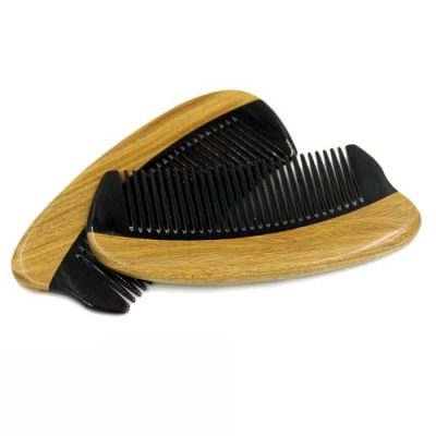 Pocket Size Jade Sandalwood and Ox Horn Beard and Moustache Comb